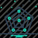 app, chart, data, pentagon, radar, radar chart with pentagon shape, shape icon