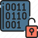 binary, data, data science, decrypt, lock, numbers icon