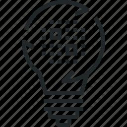 data, generation, insight, lightbulb, power, science, solution icon
