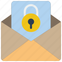 data, lock, mail, secure, security icon
