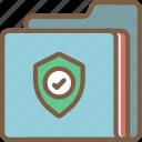 data, folder, secure, security, shield icon