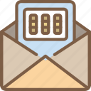 combination, data, lock, mail, secure, security icon