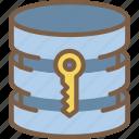 data, database, key, secure, security icon