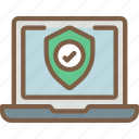 data, laptop, secure, security, shield icon