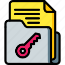 data, document, key, secure, security icon