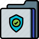 data, folder, secure, security, shield icon
