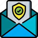data, mail, secure, security, shield icon