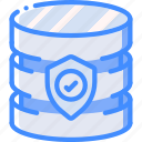 data, database, secure, security, shield icon