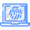 data, laptop, secure, security, thumbprint icon