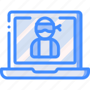 cybercrime, data, laptop, secure, security icon