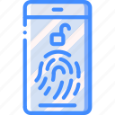 data, phone, secure, security, thumbprint icon