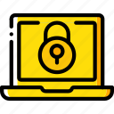 data, laptop, lock, secure, security icon