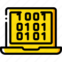 binary, data, laptop, secure, security icon