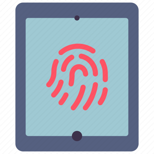 data, secure, security, tablet, thumbprint icon