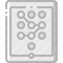 data, password, secure, security, tablet icon