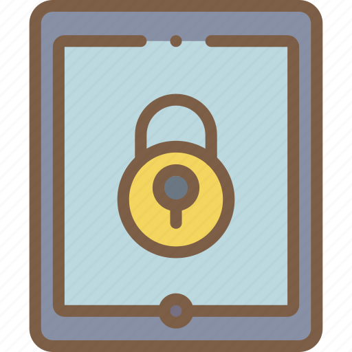 data, lock, secure, security, tablet icon