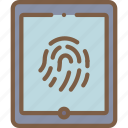 security, data, tablet, thumbprint, secure icon