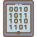 binary, security, data, tablet, secure icon