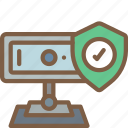 data, secure, security, shield, webcam icon