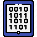 binary, data, secure, security, tablet icon