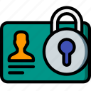 data, lock, secure, security, user icon