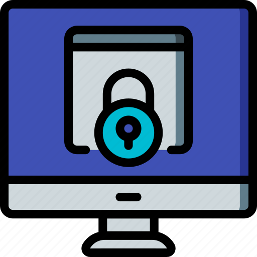 data, desktop, lock, secure, security icon