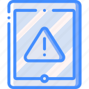 data, secure, security, tablet, warning icon