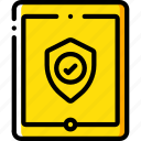 data, secure, security, shield, tablet icon