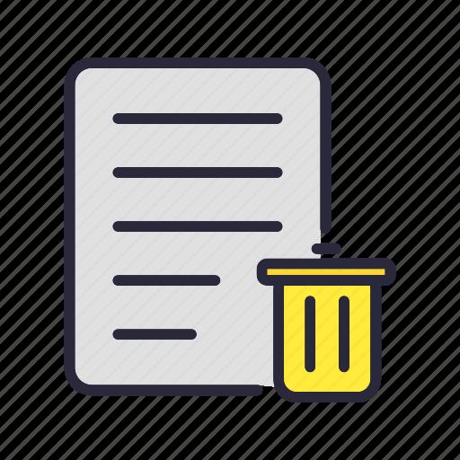delete, document, file, remove, trash icon