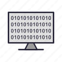 binary, code, computer, screen, technology icon