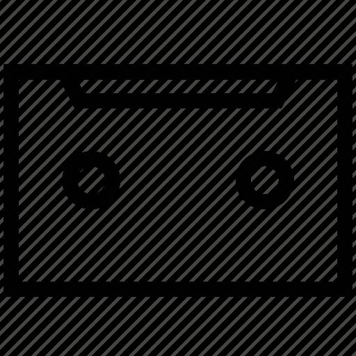 audio cassette, cassette, cassette tape, compact cassette, magnetic tape cassette, musicassette icon