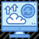 arrows, backup, cloud, computer, data icon