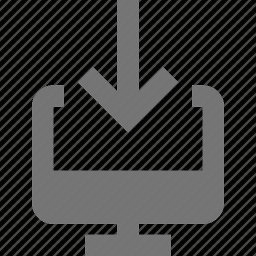 arrow, computer, down, download icon