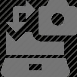 camera, data transfer, image, laptop, photo, transfer icon