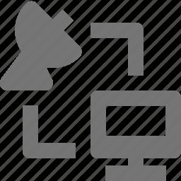 computer, data transfer, satellite, transfer icon