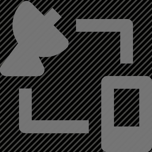 data transfer, phone, satellite, smartphone, telephone, transfer icon