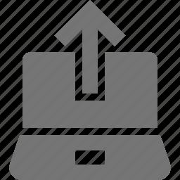 arrow, laptop, up, upload icon
