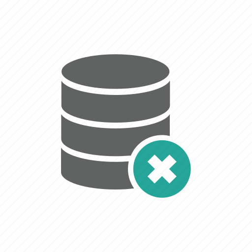cross, database, delete, error, remove icon