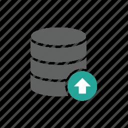 arrow, database, up, upload, uploading icon