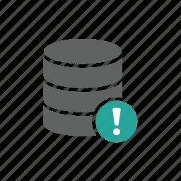 danger, database, error, exclamation mark, warning icon
