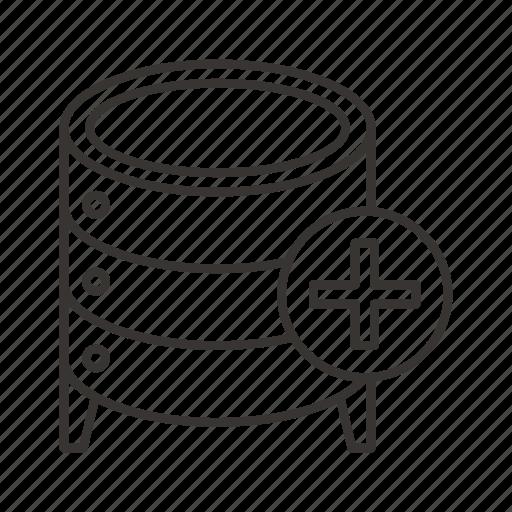 add, cloud, data, database, db, server, storage icon