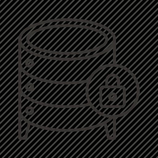 cloud, data, database, file, lock, server, storage icon
