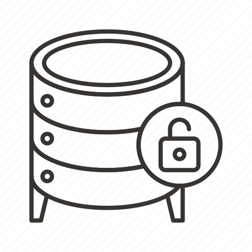 cloud, data, database, file, server, storage, unlock icon