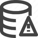 data, database, server, set, warning icon