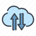 arrow, cloud, data, database, service, sync, syncronization icon