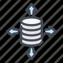 arrow, backup, database, network, server, storage, sync icon