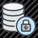 backup, database, lock, password, security, server, storage
