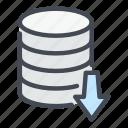 arrow, backup, database, download, import, server, storage