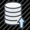 arrow, backup, database, export, server, storage, upload