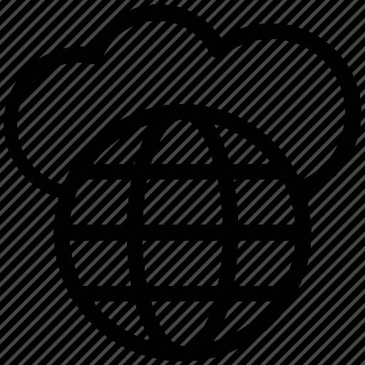 cloud, cloud optimization, cloud server, data storage, globe cloud, network, seo icon